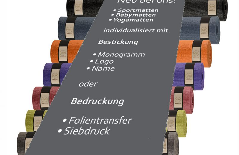 Neu bei uns: Sportmatten – individuell für Euch gestaltet mit Deinem Namen, Monogramm oder Logo
